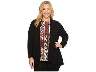 Karen Kane Plus Plus Size Faux Leather Patch Sweater Jacket Women's Jacket