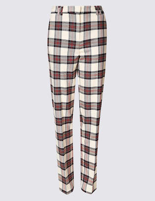 Marks and Spencer Relaxed Straight Leg Checked Trousers