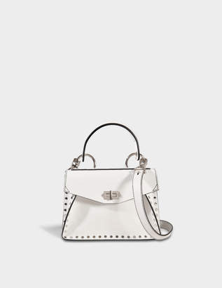Proenza Schouler Small Hava Top Handle Bag in Optic White Studded Leather