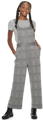 Love, Fire Love Fire Juniors' Plaid Knit Overall Jumpsuit