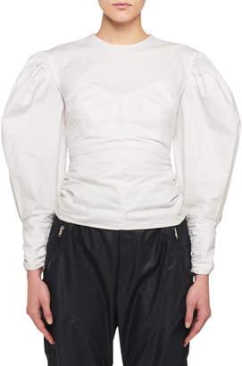 Isabel Marant Maya Full-Sleeve Fitted Zip-Back Blouse