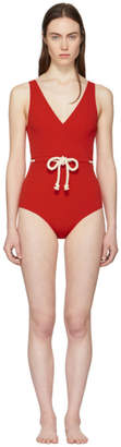 Lisa Marie Fernandez Red Yasmin Seersucker Drawstring Swimsuit