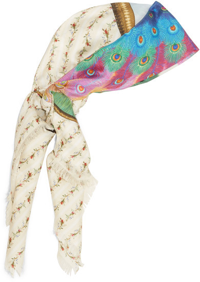 GucciGucci - Loved Peacock Printed Silk Scarf - Ivory