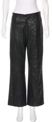 Burberry Leather Mid-Rise Pants