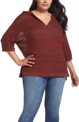 Caslon Open Work Cotton Hoodie Sweater