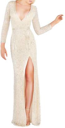 Mac Duggal Long-Sleeve Beaded V-Neck Column Gown