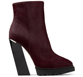 9747be45474a5 Jimmy Choo MADRA 130 Bordeaux Pony Skin Platform Ankle Boots