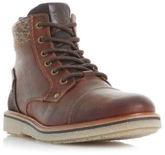 Dune Brown 'Cannister' Crepe Sole Lace Up Boots