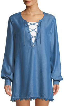 Lovers And Friends Tied To You Chambray Lace-Up Dress