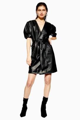 Topshop **Leather Wrap Mini Dress by Boutique