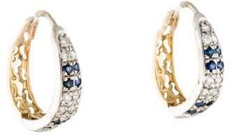 14K Diamond and Sapphire Hoop Earrings