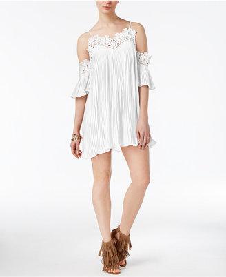 endless rose Lace-Trim Cold-Shoulder Dress $79 thestylecure.com