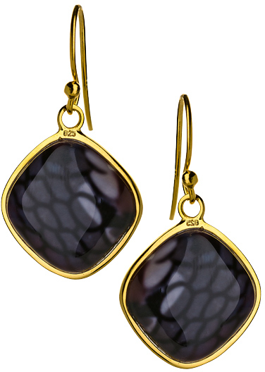 Seraphina Square Purple Black Reptile Print Drop Earrings