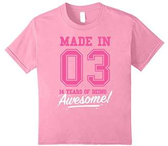 Made In 2003 Awesome 14th Birthday Girl Shirt T-shirt
