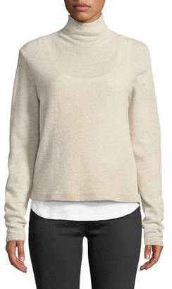 Neiman Marcus Majestic Paris for Wool-Cashmere Funnel-Neck Double-Layer Sweater