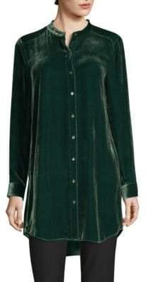 Eileen Fisher Velvet Mandarin-Collor Tunic Shirt