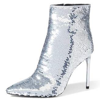 0e3d74d8649 FSJ Women Evening Sequins Stiletto High Heels Ankle Boots Pointed Toe Sexy  Party Shoes Size 14