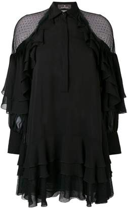 Capucci sheer detail ruffle dress