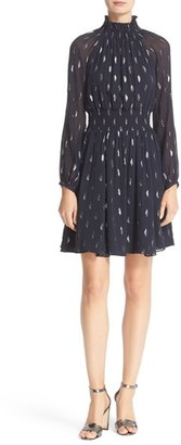 Women's Rebecca Taylor Metallic Jacquard Smocked Silk Dress $575 thestylecure.com