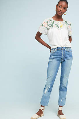 7 For All Mankind Edie High-Rise Patchwork Straight Ankle Jeans