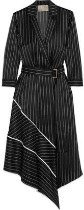Jason Wu - Asymmetric Striped Silk-charmeuse Midi Dress - Black $1,995 thestylecure.com