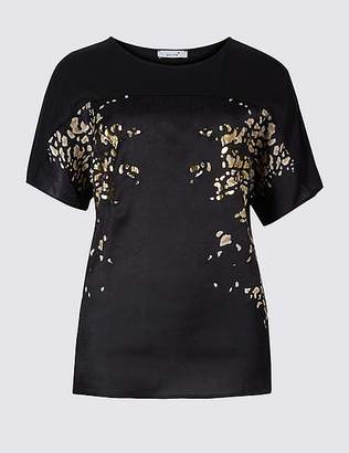 Marks and Spencer Printed Round Neck Short Sleeve Top