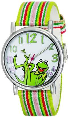 Disney Muppets Women's MU1010 Kermit the Frog Dial Multi-Color Watch with Fabric Strap