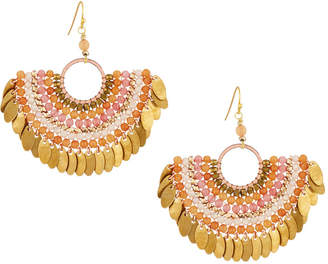 Nakamol Bead Layered Half-Circle Drop Earrings, Peach