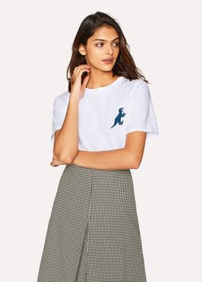 Paul Smith Women's White Small Blue 'Dino' Print Cotton T-Shirt
