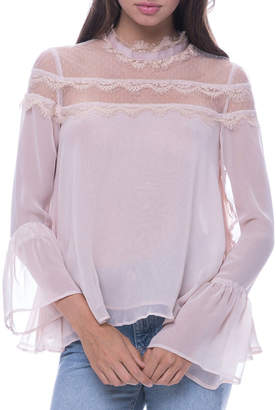 Endless Rose Lace-Trimmed Bell-Sleeve Blouse
