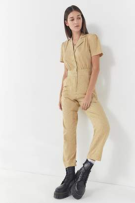 Urban Outfitters Gingham Collared Button-Front Jumpsuit