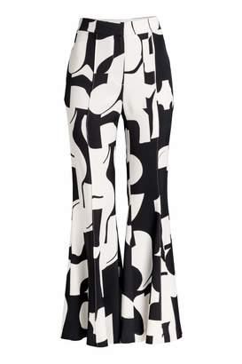 H&M Flared Pants - Black/white patterned - Women