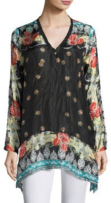Johnny Was Fiesta V-Neck Long-Sleeve Printed Tunic, Plus Size $230 thestylecure.com