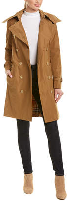 Burberry Taffeta Detachable Hood Trench Coat