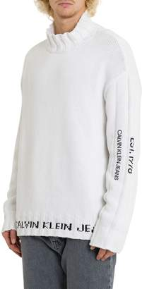 Calvin Klein Jeans Turtleneck With Logo Jacquard And Rear Patch