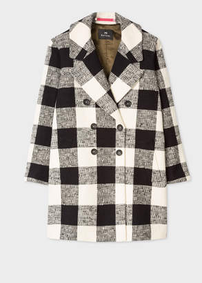 Paul Smith Women's Black And Cream Check Cotton-Blend Cocoon Coat