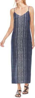 Vince Camuto Woodblock Side Slit Sleeveless Maxi Dress