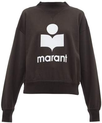 Etoile Isabel Marant Moby Flocked Logo Cotton Blend Sweatshirt - Womens - Black