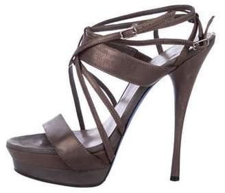 Versace Leather Multistrap Sandals