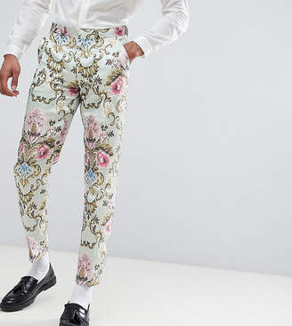 Asos EDITION Tall wedding skinny suit pants in pastel floral jacquard
