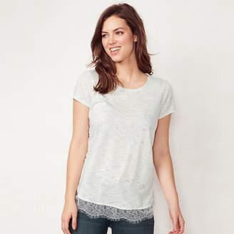 Lauren Conrad Women's Lace-Trim Top