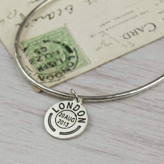 Nicola Crawford Personalised Place And Date Skinny Silver Bangle