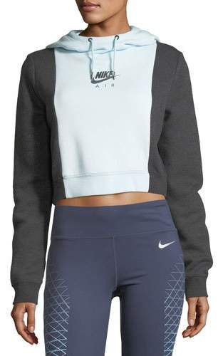 Nike Rally Cropped Colorblocked Athletic Hoodie