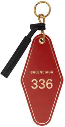 Balenciaga Red Hotel Diamond Tag Keychain