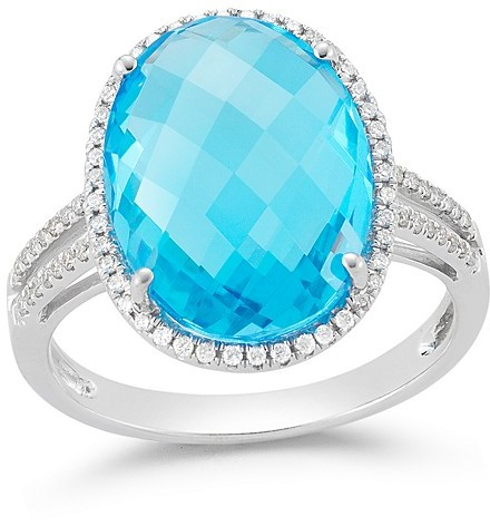 Bloomingdale's Blue Topaz and Diamond Halo Oval Statement Ring in 14K White Gold
