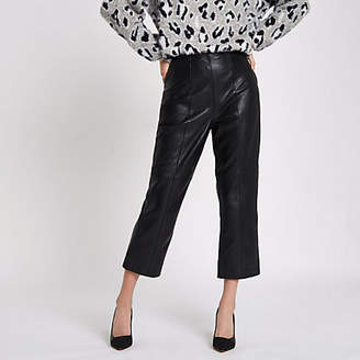 River Island Black leather flared cropped pants