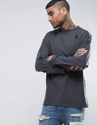 Asos Oversized Long Sleeve T-Shirt In Washed Black With Distressing