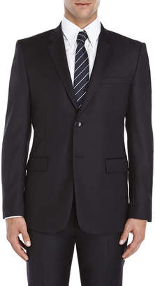 American Designer Black Two-Button Slim Fit Wool Suit Jacket