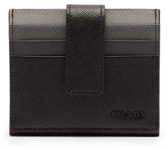 Prada Gradient Slot Saffiano Leather Cardholder - Mens - Black
