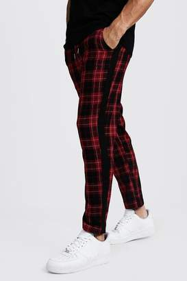 boohoo Tartan Tapered Trousers With Side Panel